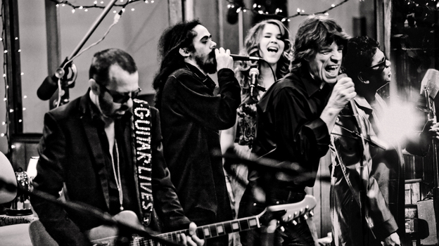 Superheavy: (left to right) Dave Stewart, Damian Marley, Joss Stone, Mick Jagger and A.R. Rahman. (Courtesy of the artists)