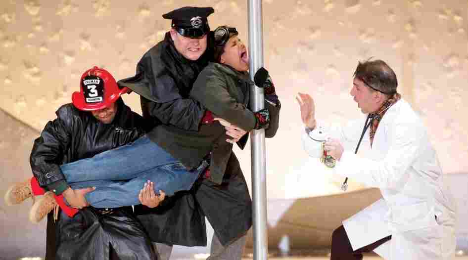 Triple-dog-dared: Jonathan Burke, George Wolffe, Nicholas Daniel Gonzalez and Adam Pelty re-create a much-loved scene from A Christmas Story in the new stage musical version.