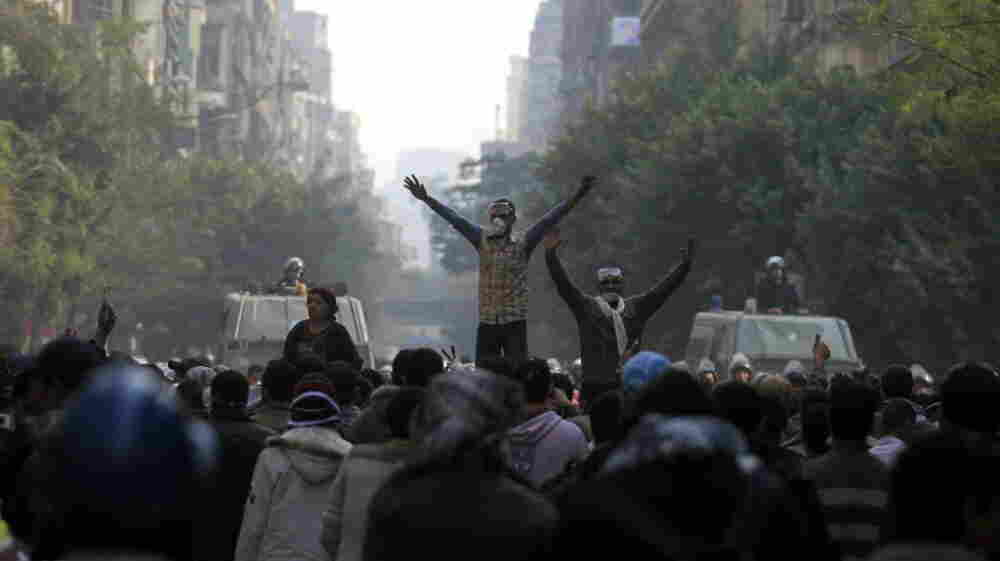 Protesters chanted slogans during clashes with Egyptian riot police near Tahrir Square in Cairo earlier today (Nov. 22, 2011).