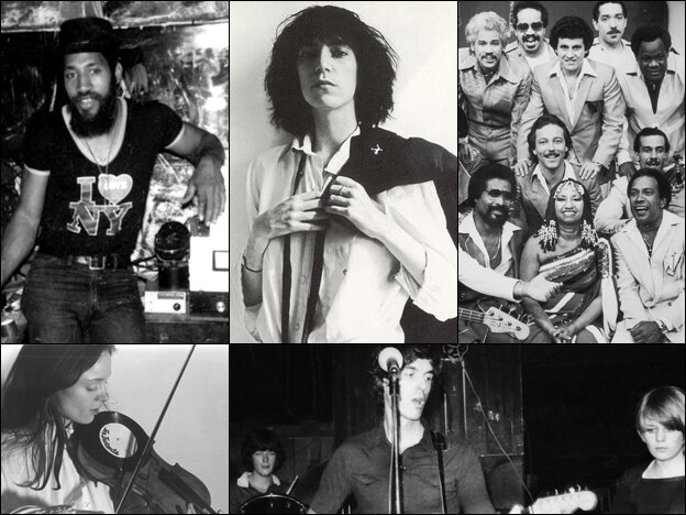 Clockwise from top left: DJ Kool Herc, Patti Smith, the Fania All-Stars, Talking Heads at CBGB, Laurie Anderson and her viophonograph.
