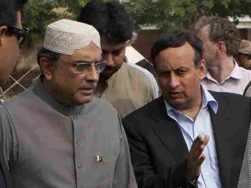 Hussain Haqqani, Pakistan's ambassador in Washington (right), talks to President Asif Ali Zardari in Multan, Pakistan, in August. Haqqani resigned over claims he wrote a memo to Washington asking for its help in reining in Pakistan's powerful military.