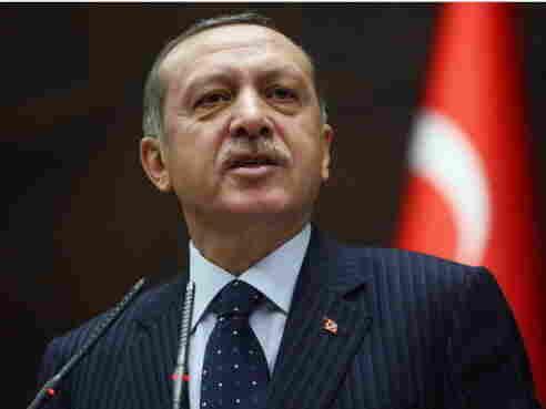 Turkeyish Prime Minister Recep Tayyip Erdogan during his address today in Ankara.