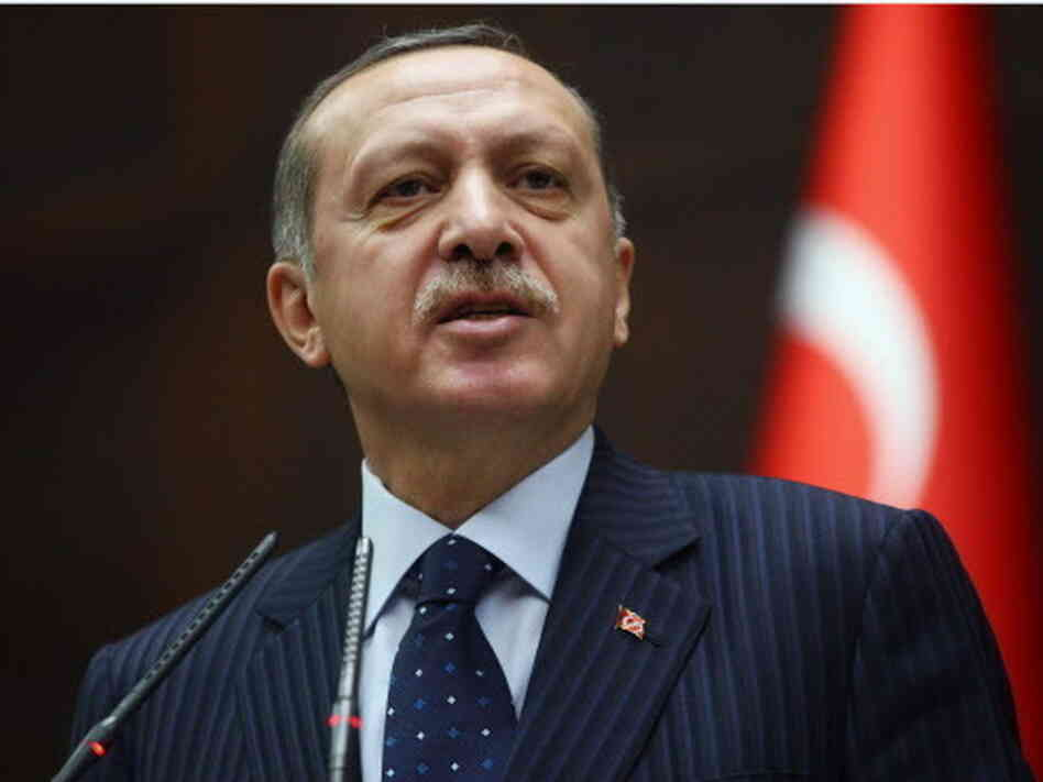 Turkeyish Prime Minister Recep Tayyip Erdogan during his address today in Ankara.