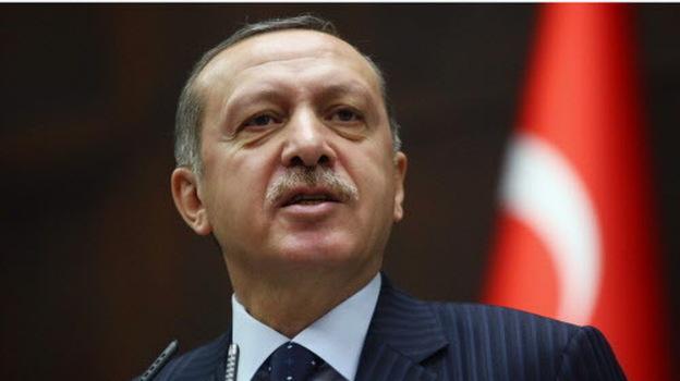 Turkeyish Prime Minister Recep Tayyip Erdogan during his address today in Ankara. (AP)