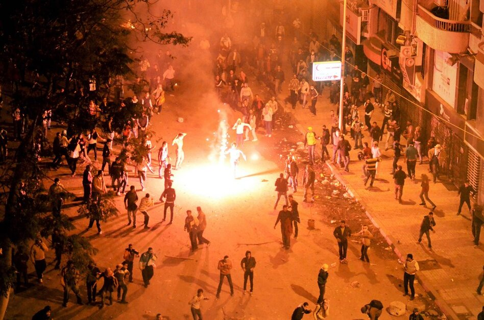 In the coastal city of Alexandria, scores of demonstrators, including thousands of students, take to the streets.  (AP)