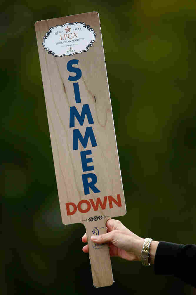 "Rep. Shelley Moore Capito says that her father once resorted to using a ""quiet"" paddle, like this one seen at a Texas golf tournament, to calm things down during her family's Thanksgiving dinner."