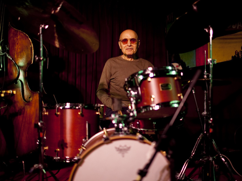 Paul Motian at the Village Vanguard in May 2011, on a night he performed with saxophonist Mark Turner. (John Rogers for NPR/johnrogersnyc.com)