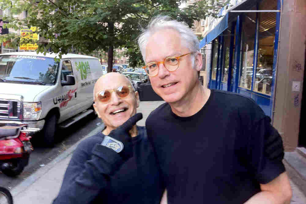Paul Motian and Bill Frisell, after an espresso.