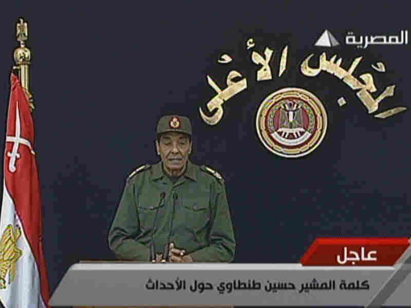 In this video image from Egyptian state television, Field Marshal Hussein Tantawi addresses the nation Tuesday from Cairo.