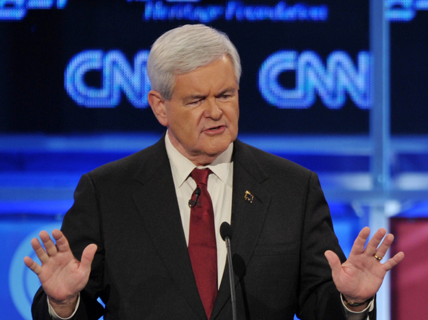 Former House Speaker Newt Gingrich answers a question at Tuesday's Republican presidential debate in Washington, D.C.