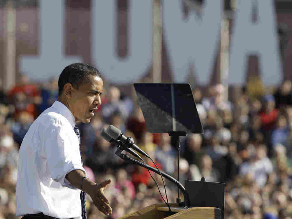 In October 2008, then-Democratic presidential candidate Sen. Barack Obama spoke at a rally in Des Moines, Iowa. Now, even without a Democratic challenger, President Obama plans aggressive roles in states with early presidential primaries, especially in Iowa and other battleground states.