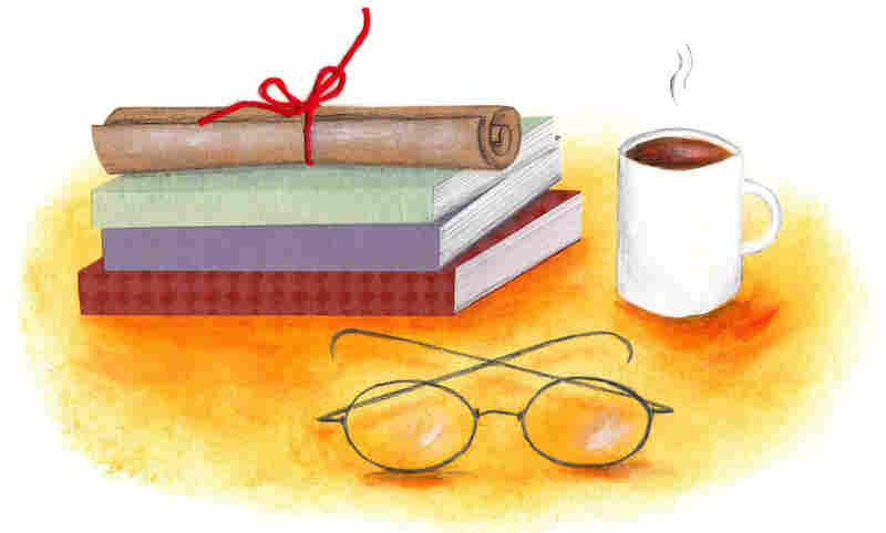 Illustration: Books, coffee and glasses