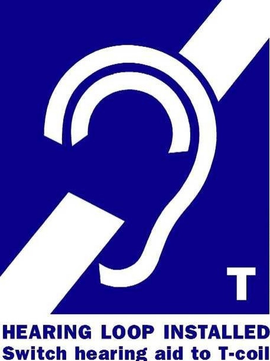 A hearing assistance sign with a 'T' lets people know they can activate their telecoil, or t-coil. ( )