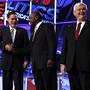 Mitt Romney, Herman Cain and Newt Gingrich before a GOP presidential debate in Washington, Tuesday, Nov. 22, 2011.