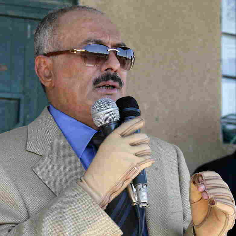 Yemeni President Ali Abdullah Saleh in a photo provided his office earlier this month. He wears gloves to protect his hands, which were injured during an assassination attempt earlier this year.
