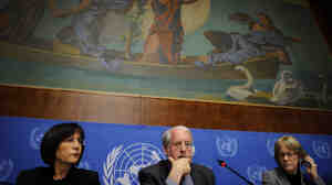 Chairperson of the Commission of Inquiry on Syria, Professor Paulo Pinheiro gestures during a press conference in Geneva today.