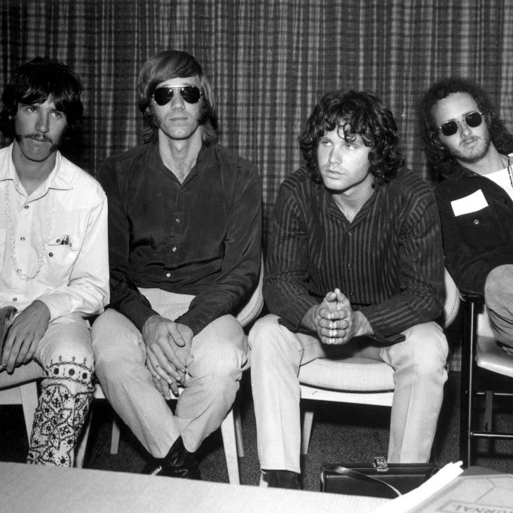 Founded in Los Angeles in 1960s, The Doors (left to right: drummer John Densmore, keyboard player Ray Mansarek, vocalist Jim Morrison and guitarist Robby Krieger) took their name from Aldous Huxley's 1954 book, The Doors of Perception.