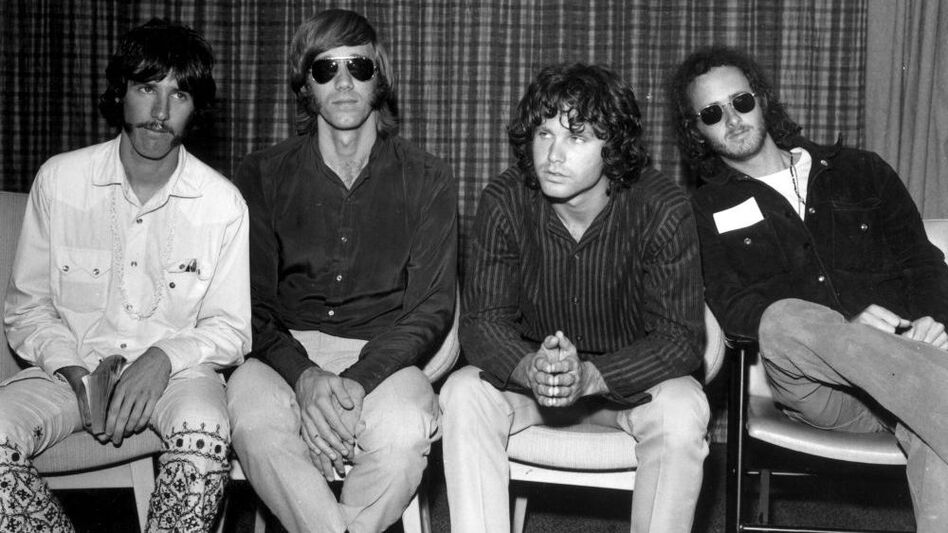 Founded in Los Angeles in 1960s, The Doors (left to right: drummer John Densmore, keyboard player Ray Mansarek, vocalist Jim Morrison and guitarist Robby Krieger) took their name from Aldous Huxley's 1954 book, The Doors of Perception. (Getty Images)