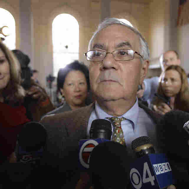 Massachusetts Rep. Barney Frank, amid journalists in Newton, Mass., after announcing Monday he won't seek reelection next year.