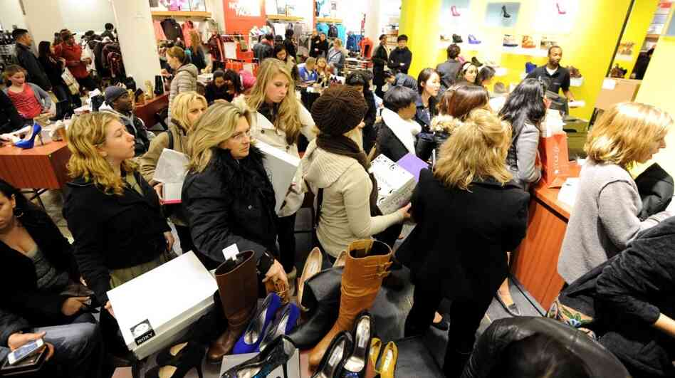 Black Friday at Macy's in Manhattan: Shoppers lined up.
