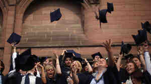 Students from John Moores' University celebrate graduation.