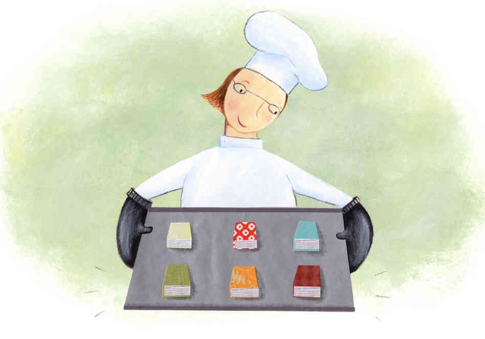 Illustration: Chef holds a tray of freshly baked books.