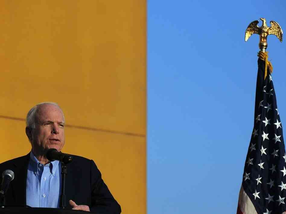 Sen. John McCain speaks at a  Veterans Day ceremony at the U.S. Embassy in Kabul last year.