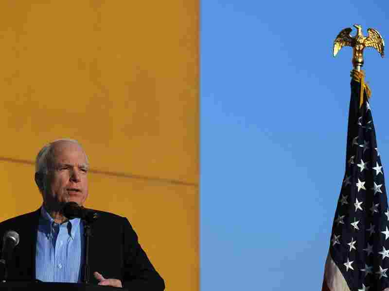 Sen. John McCain speaks at a  Veterans Day ceremony at the U.S. Embassy in Kabul last year.