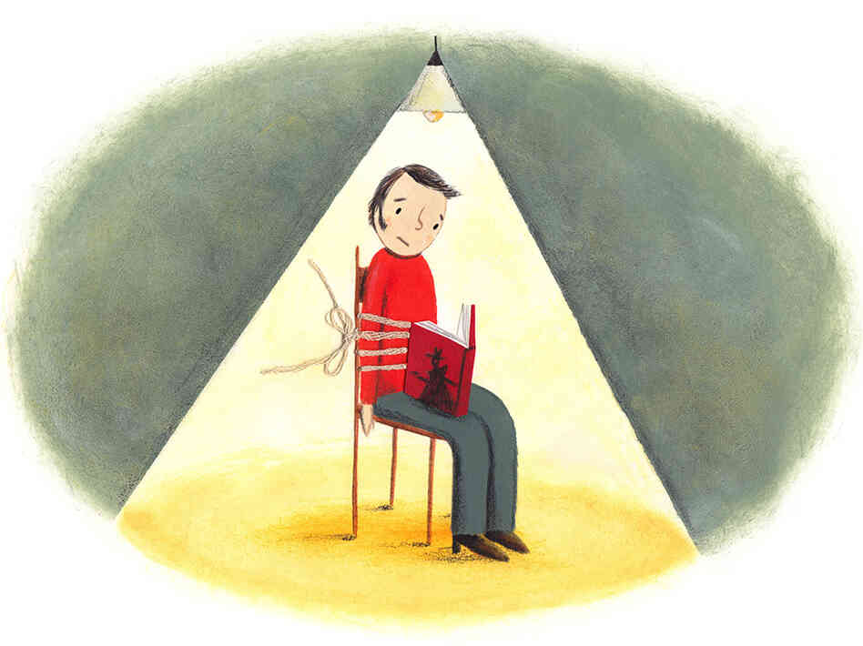 Illustration: Man tied up reading a book.