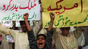 Pakistani boys in Lahore joined in a protest Sunday about the NATO attacks that killed 24 Pakistani soldiers.