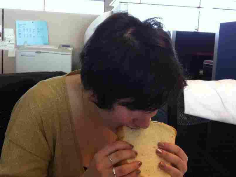 Hannah the Vegetarian Intern enjoys the Nothingetarian sandwich.
