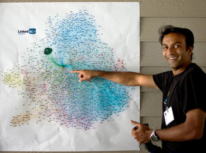 DJ Patil explains a visualization of a person's LinkedIn network, where different groups of contacts are illustrated by different colors. Patil developed big data projects for LinkedIn — like algorithms to dete