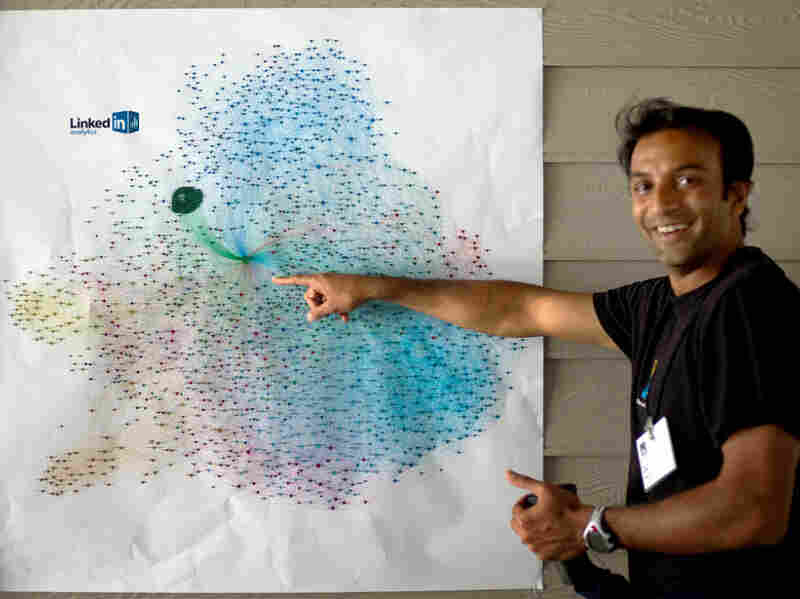 DJ Patil explains a visualization of a person's LinkedIn network, where different groups of contacts are illustrated by different colors. Patil developed bi