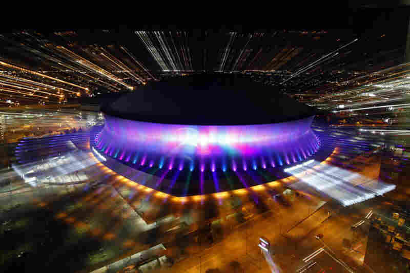 The Mercedes-Benz Superdome lights up the skyline as the new lighting system is switched on for the first time on Oct. 20.