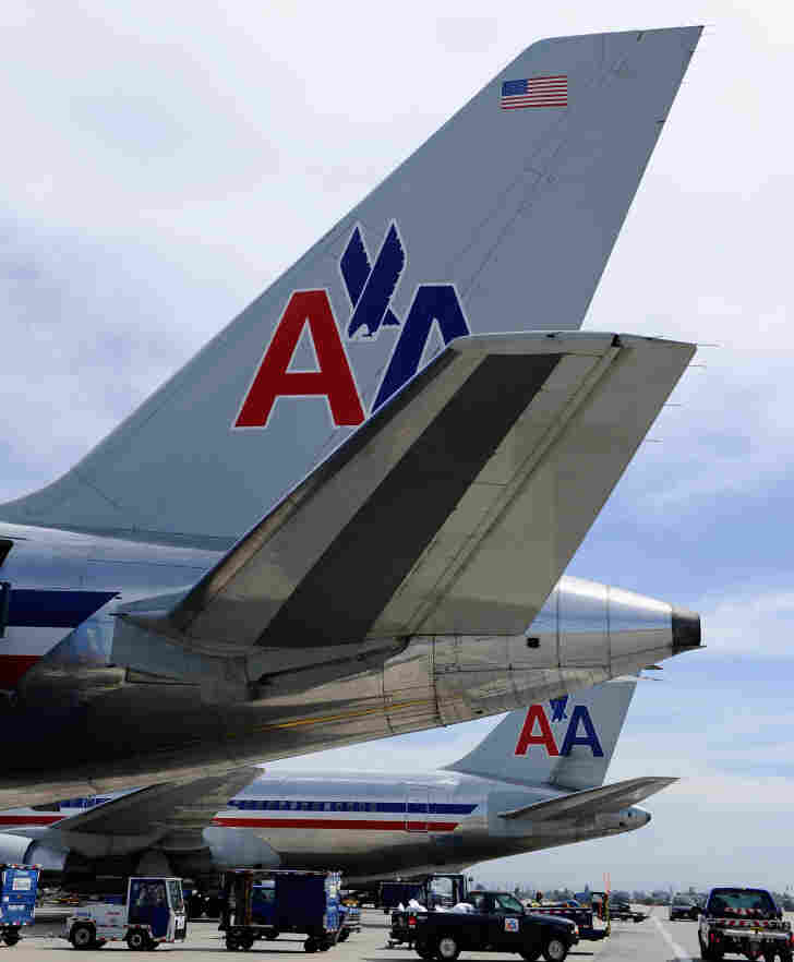 American Airlines jets at Los Angeles International Airport.