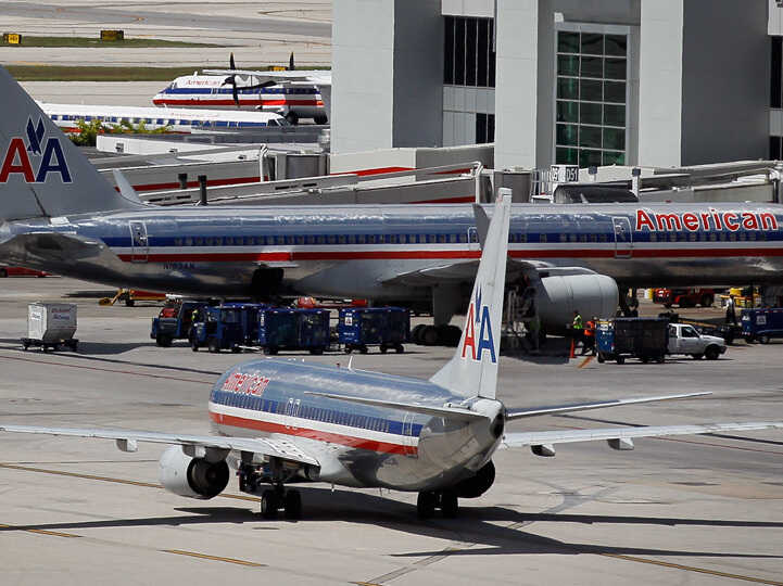 American Airlines planes sit on the tarmac at Miami International Airport.