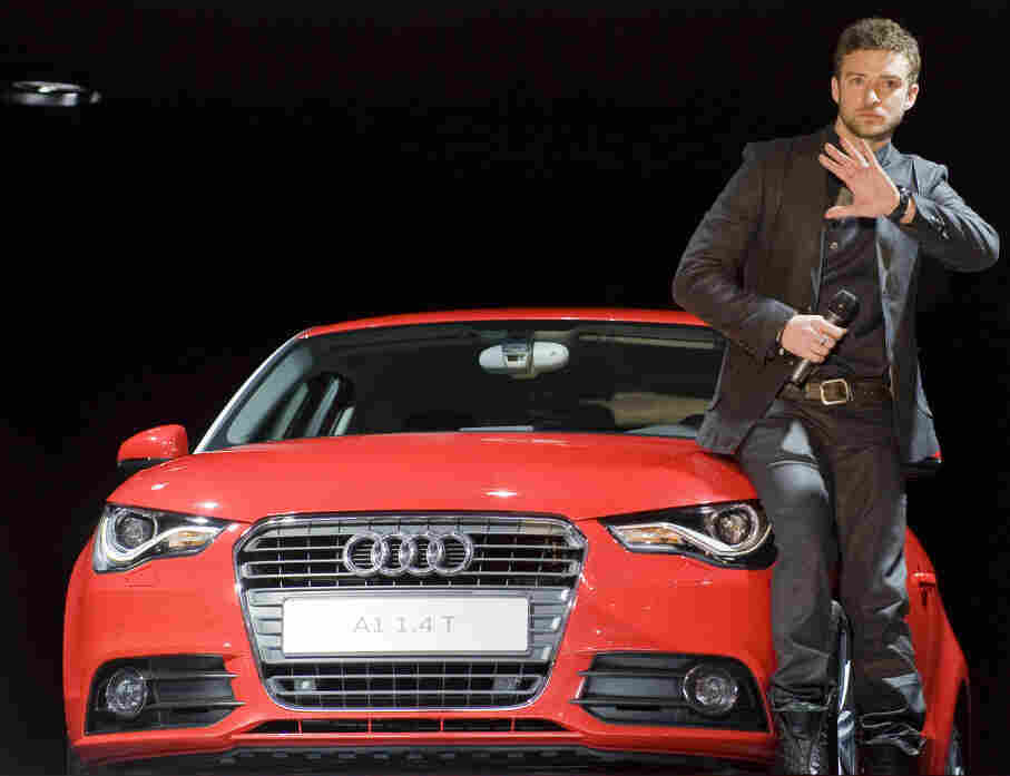 Justin Timberlake presents the Audi A1 at the Geneva Motor Show in Switzerland in 2010. Timberlake stars in a viral marketing campaign for the car company aimed at a younger demographic. Audi's share of the luxury market has risen in recent years.
