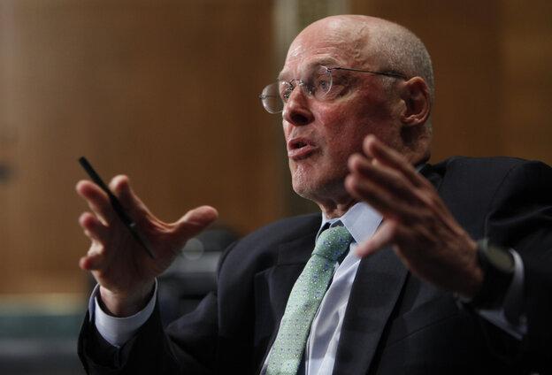 Former Treasury Secretary Henry Paulson testifies on Capitol Hill in Washington in May of 2010.