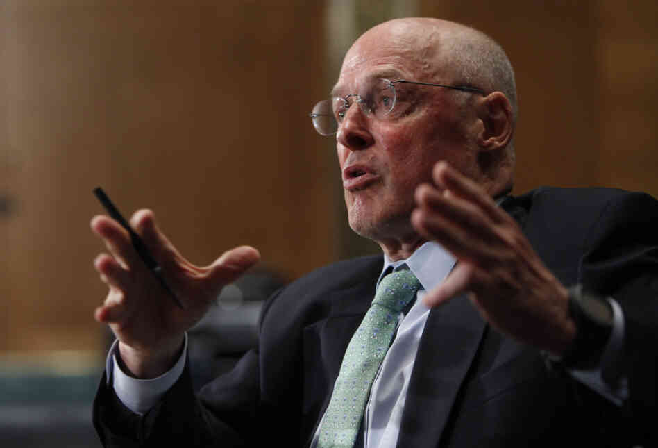 Former Treasury Secretary Henry Paulson testifies on Capitol Hill in Washington in May of 2010.