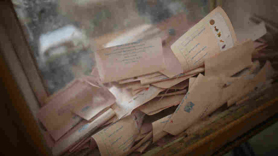 Votes piled up inside a ballot box at a polling station in Old Cairo earlier today (Nov. 29, 2011).