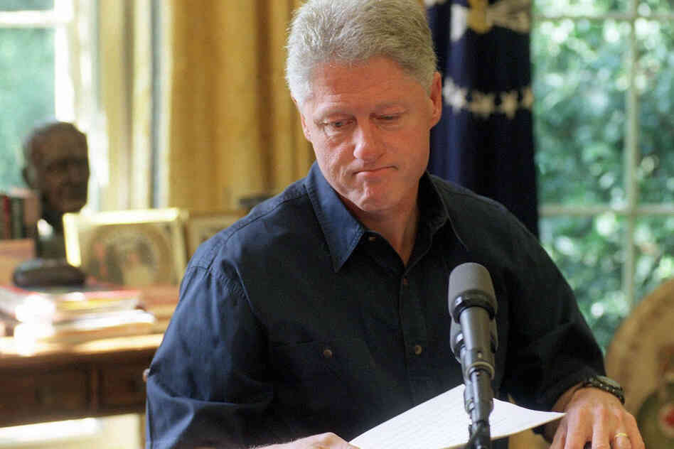 Then-President Bill Clinton tapes a radio address Aug. 15, 1998, two days before admitting an affair with Monica Lewinsky.
