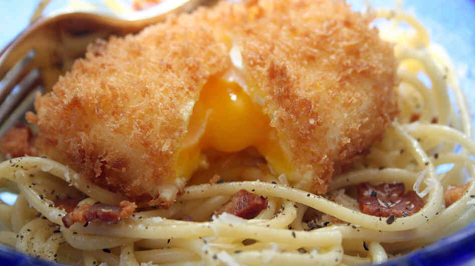 Spaghetti Carbonara With Deep-Fried Poached Eggs