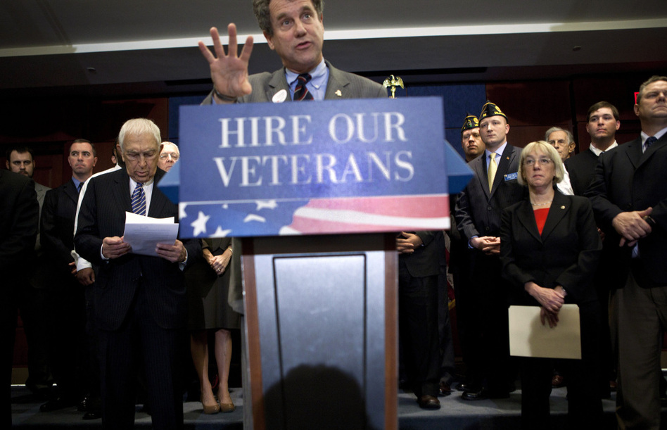 Sen. Sherrod Brown, D-Ohio, speaks on Capitol Hill about the Hire Heroes Act, which gives tax breaks to businesses that hire unemployed veterans. Vets that have served since 2001 face a higher unemployment rate than the population overall. (Brendan Smialowski/Getty Images)