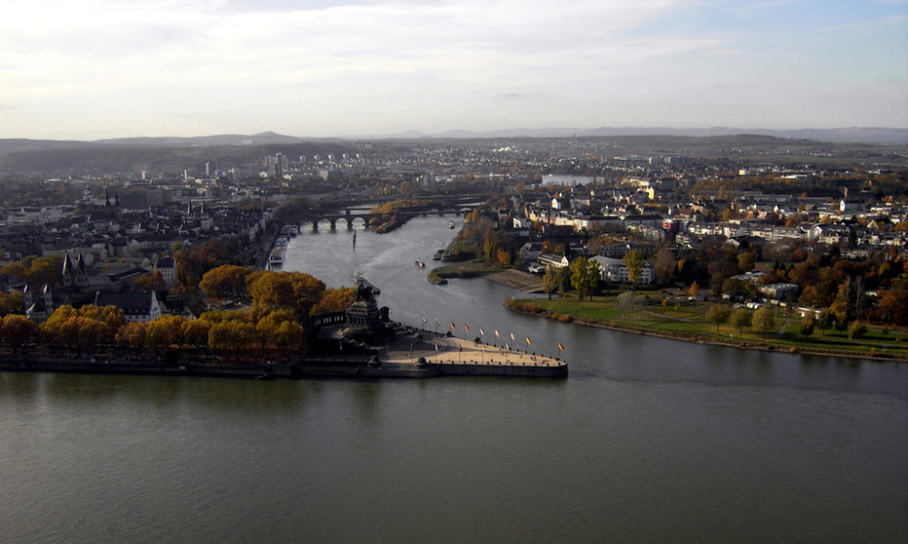 Koblenz: Where the Moselle river and the Rhine river meet.