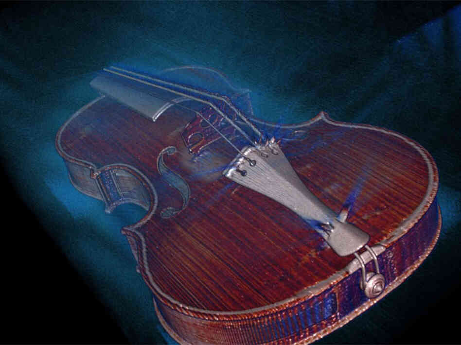 This image, derived from the OsiriX DICOM image viewer, is a single frame from a 3-D volume rendered movie of the 1704 Stradivari Betts violin.