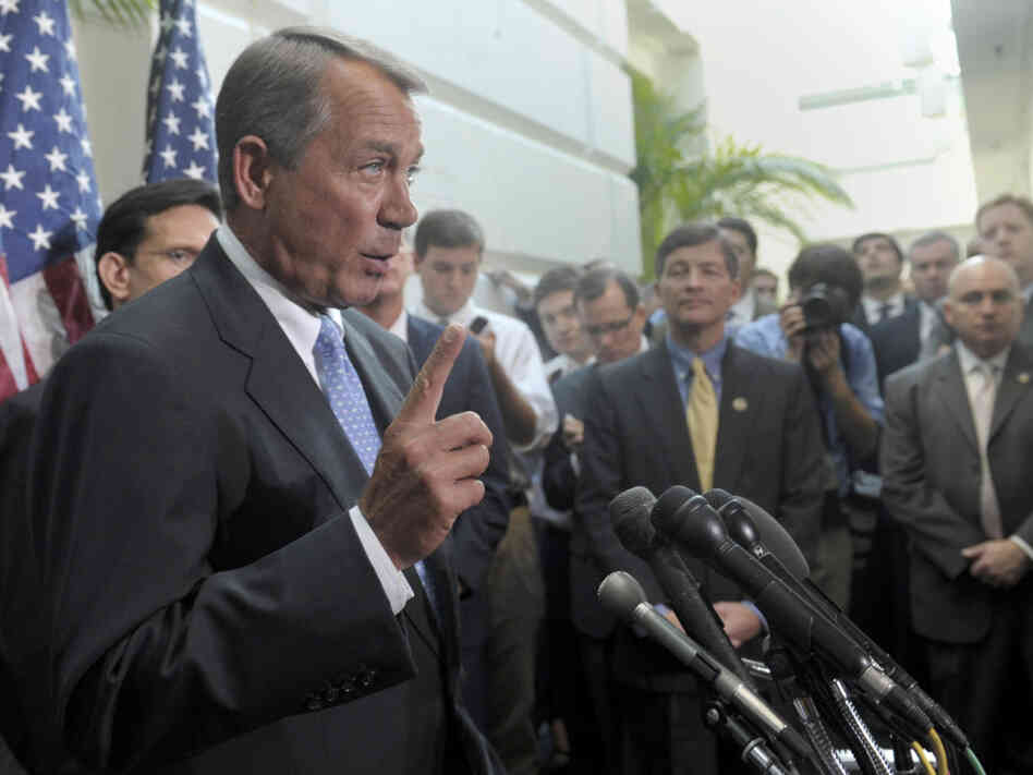 House Speaker John Boehner speaks to reporters after a closed-door GOP meeting, Wednesday, Nov. 30, 2011.