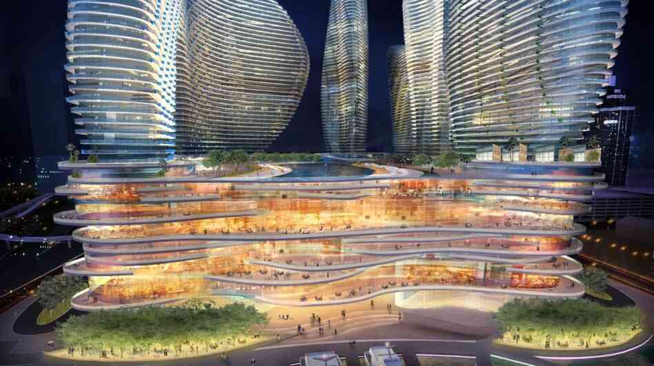 An design rendering shows the Genting Group's proposed casino a