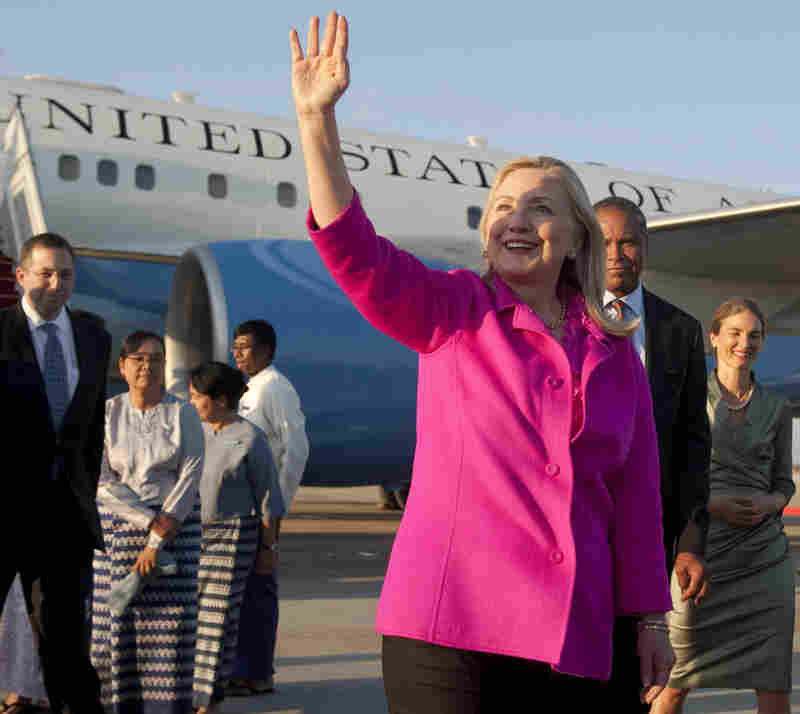Secretary of State Hillary Rodham Clinton upon her a