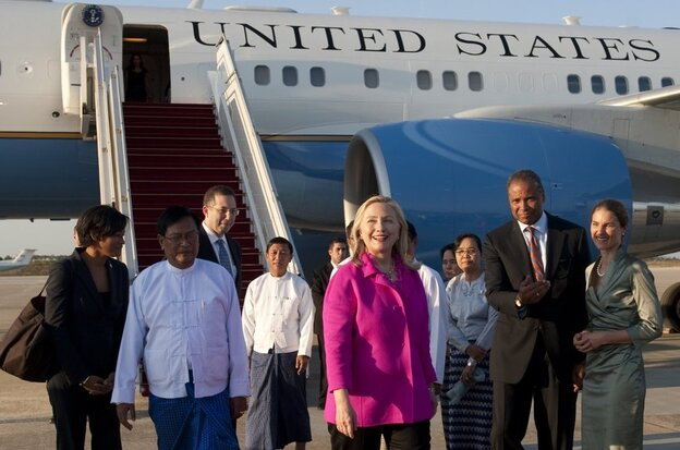 U.S. Secretary of State Hillary Clinton arrives in Myanmar's capital city, Naypyidaw, on Wednesday for the first top-level U.S. visit to the country in half a century.