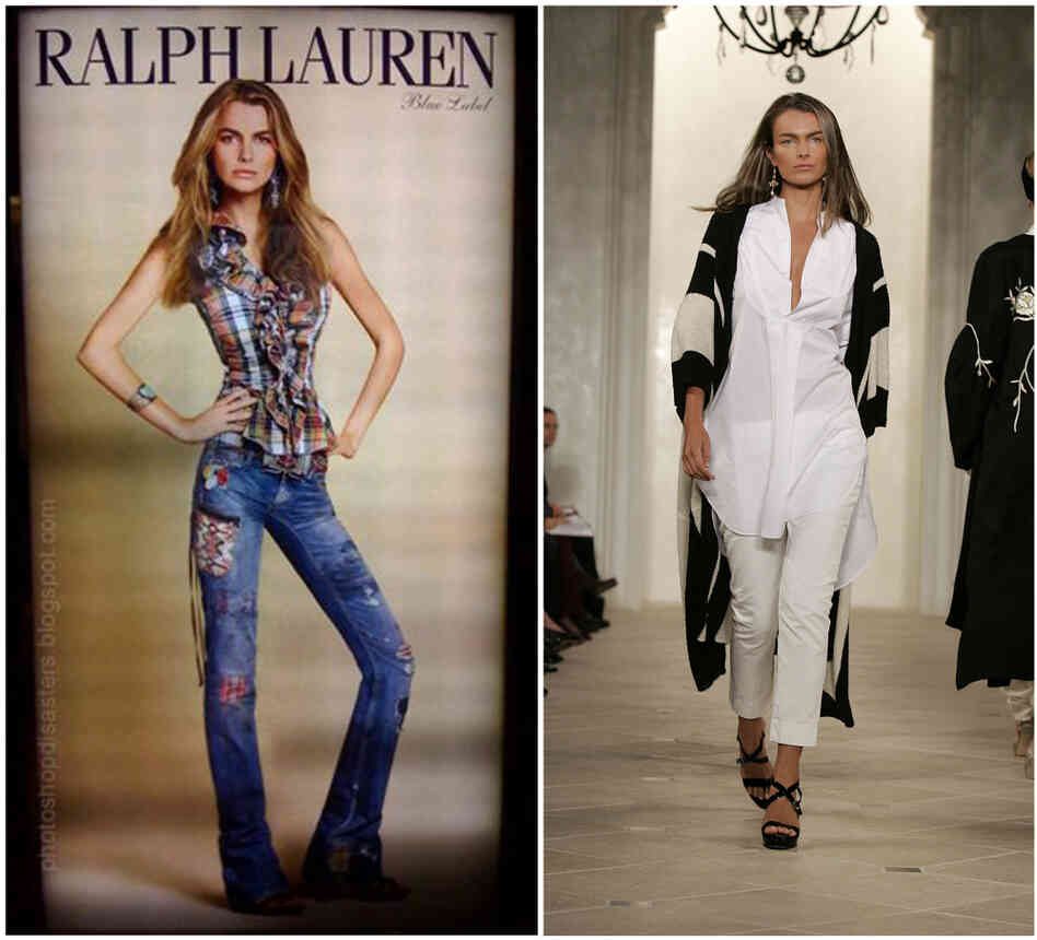 At left, an altered ad featuring model Filippa Hamilton who worked for Ralph Lauren.At right, the real Hamilton walks a runway in 2006.